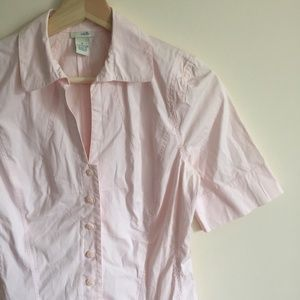 ANTHROPOLOGIE Baby Pink Button Down Top